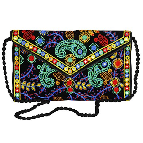 Sling Clutch Evergreen Cross Bag Bag amp; Body Handmade Banjara Black foldover Embroidered Purse Mulicolored ZIYIRq