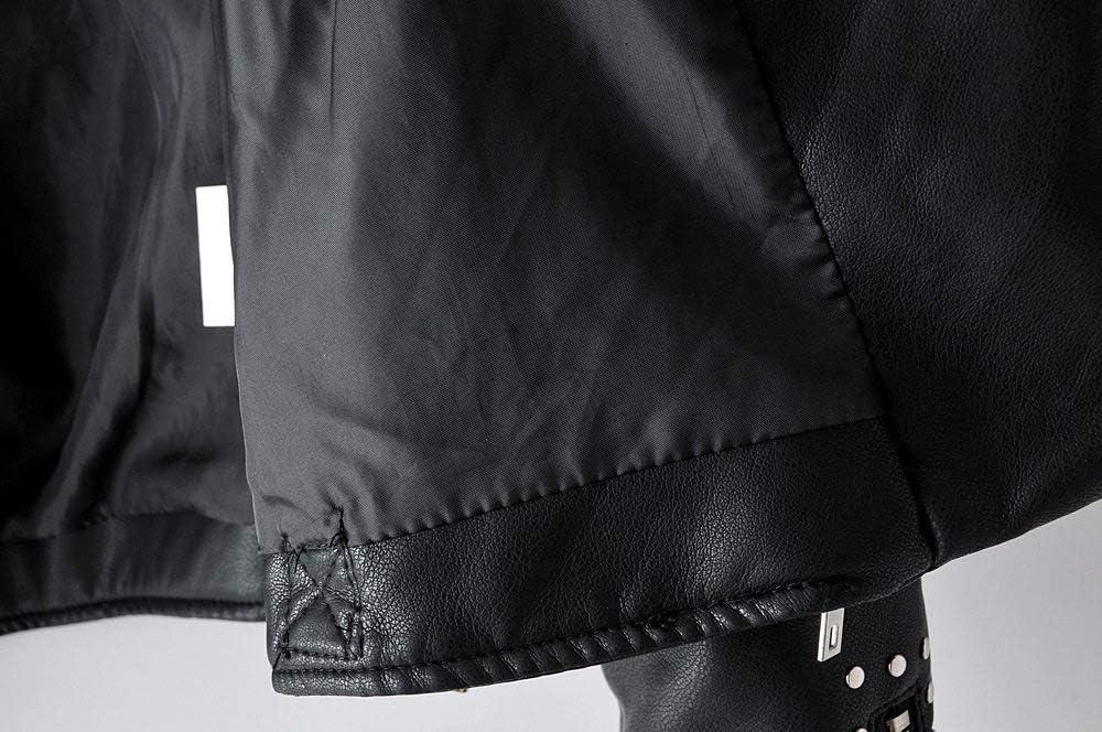 EIJFKNC Veste Femmes Automne Décolleté Collier Faux Souple en Cuir Souple Punk Zipper Veste Manteau PU Moto Femme Vestes De Base Outwear Noir
