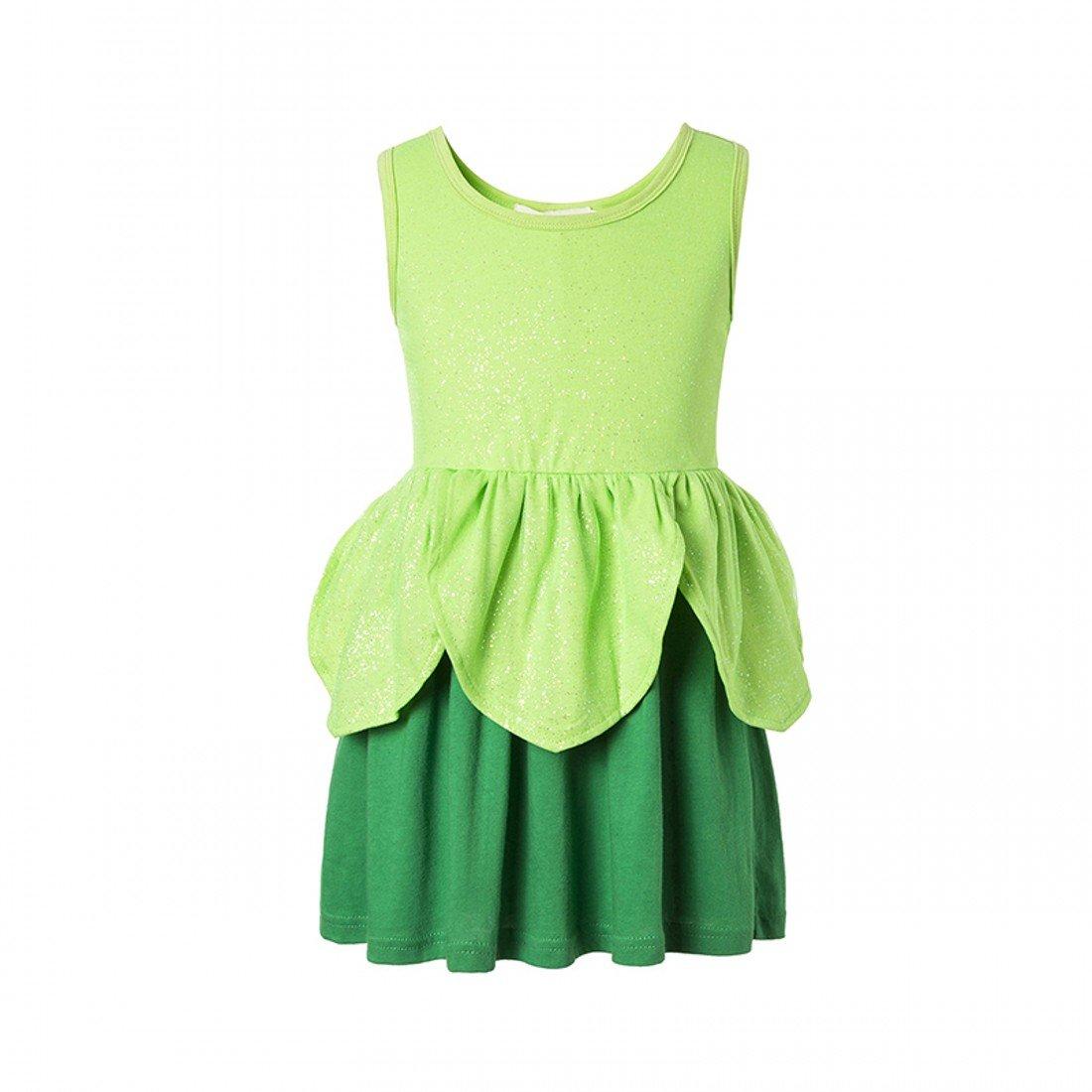 Tinkerbell Classic Girls Costume Tinker Bell Princess Dress Girls Dress (7, Green)