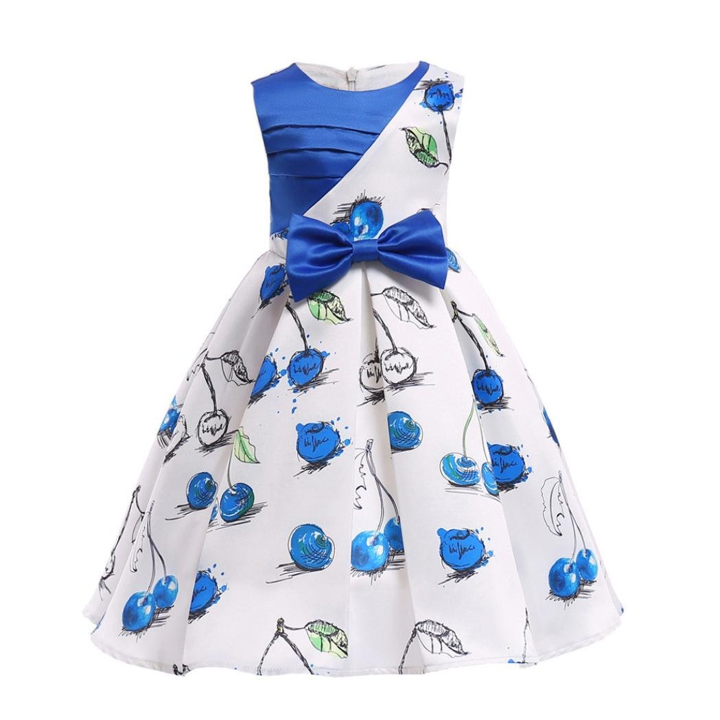 Lurryly Little Girls Casual Maxi Floral Dress Short Sleeve Holiday Princess Party Dresses