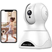 IDEER LIFE Wireless IP Camera, 1536P HD Home Security Camera, available for A.lexa, 3MP WiFi Pet Baby Monitor 360° Viewing 8X Zoom, Two-way Audio, Motion Detection, Night Vision