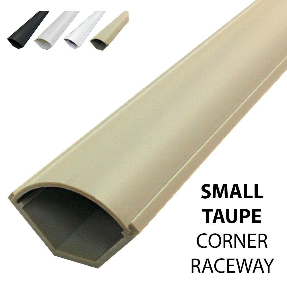 Small Corner Duct Cable Raceway (1075 Series) - 5 Feet - Taupe - 20 Sticks