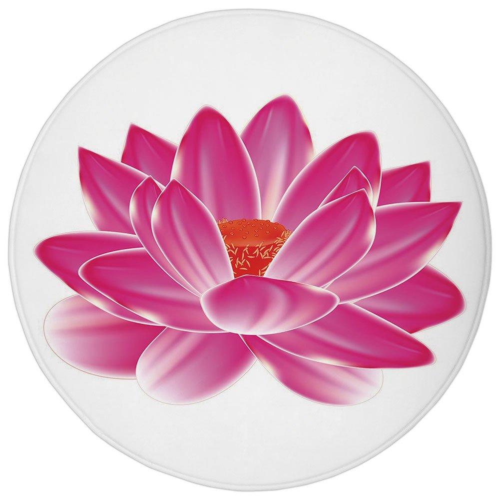 Round Rug Mat Carpet,Lotus,Vibrant Lotus Flower Pattern Spa Zen Yoga Asian Balance Energy Lifestyle Artsy Image,Magenta Red,Flannel Microfiber Non-slip Soft Absorbent,for Kitchen Floor Bathroom