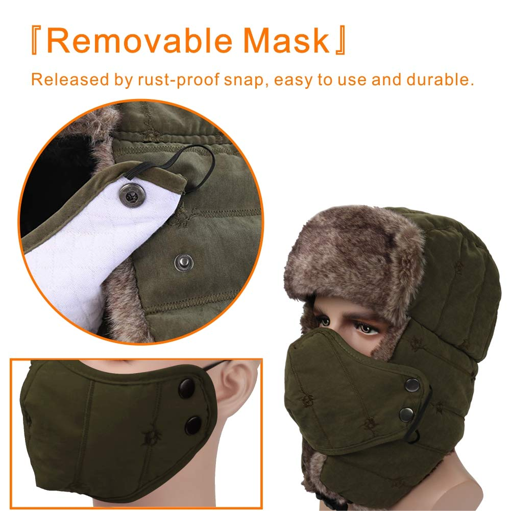 Winter Trapper Hat for Men Women Warm Ushanka Aviator Russian Windproof Hat with Mask,Army Green