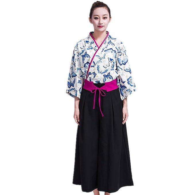 Amazon.com: Xinfu Sushi camarera uniforme mariposa 3/4 Manga ...