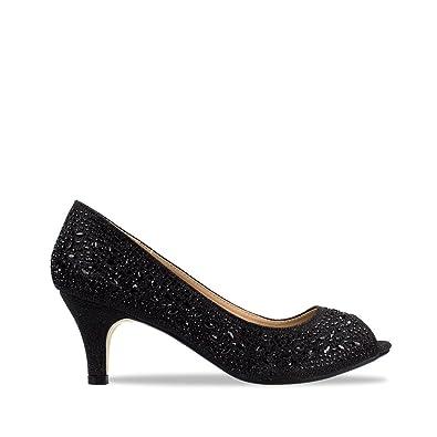 online store 4044d 1e814 Miss Diva Shoes pd119-13 Ladies Women Low Kitten Heel Slip on Diamante Peep  Toe Court Shoe Sandal