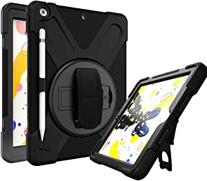 Azzsy iPad 8th/7th Generation Case,iPad 10.2 2020/2019 Case,[360 Degree Swivel Stand/Hand Strap] Slim Heavy Duty Shockproof Rugged Protective Case for iPad 10.2 inch 2020/2019,Black