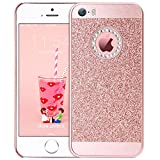 BENTOBEN iPhone SE Case, iPhone 5S Case, iPhone 5 Case, Studded Sparkly Rhinestone Laminate with Shiny Faux Leather Ultra Slim Bling Glitter Phone Protective iPhone 5 5S SE Case for Girls, Rose Gold