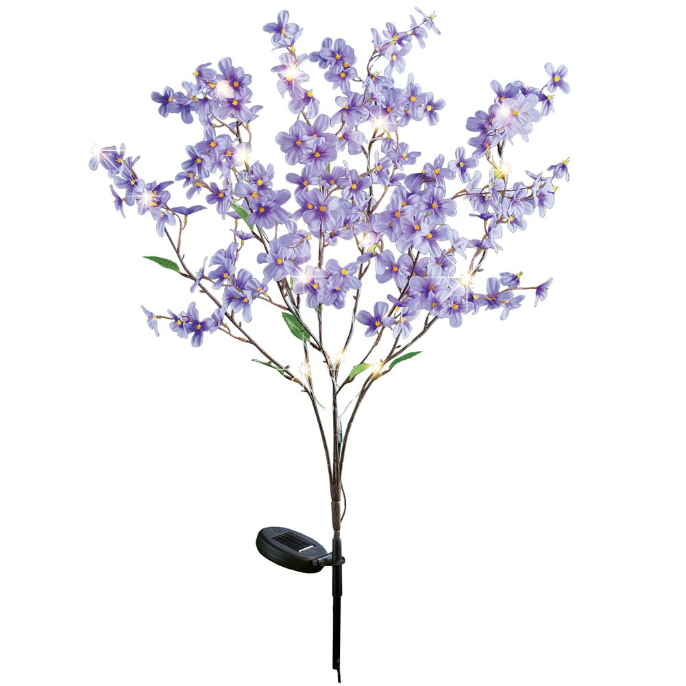 Collections Etc Forsythia Flower Twig Branch Tree LED Lighted Solar Garden Stake, Purple