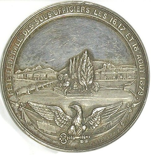 (1879 CH Very Rare Swiss 1879 Silver Shooting Medal Genev coin Good 3597051-007 )