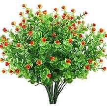 GTidea 4pcs Artificial Greenery Plants Fake Shrubs Plastic Eucalyptus Bushes with Mini Rose Heads House Office Garden Patio Indoor Outdoor Decor Orange