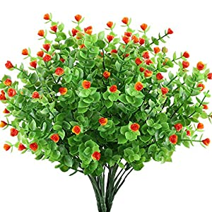 GTIDEA 4pcs Artificial Greenery Plants Fake Shrubs Plastic Eucalyptus Bushes with Mini Rose Heads House Office Garden Patio Indoor Outdoor Decor Orange 31