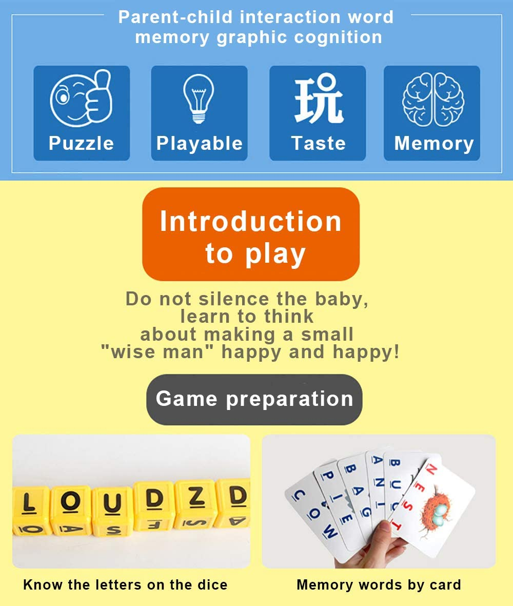 Sipobuy Alphabet Letter Word Match and Spell Board Games for Kids Toddle Pres...