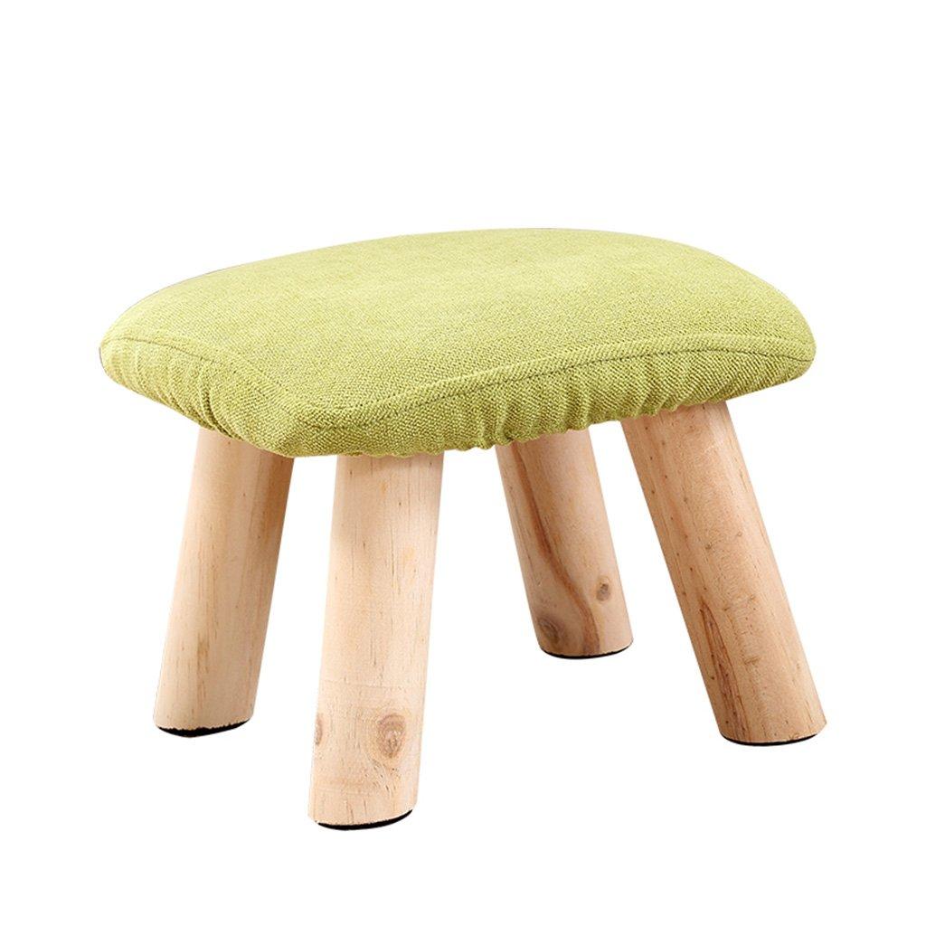 Taburetes Simple casero 28  28  20cm Madera sólida de la Tela del Color de la Moda (Color : Green)