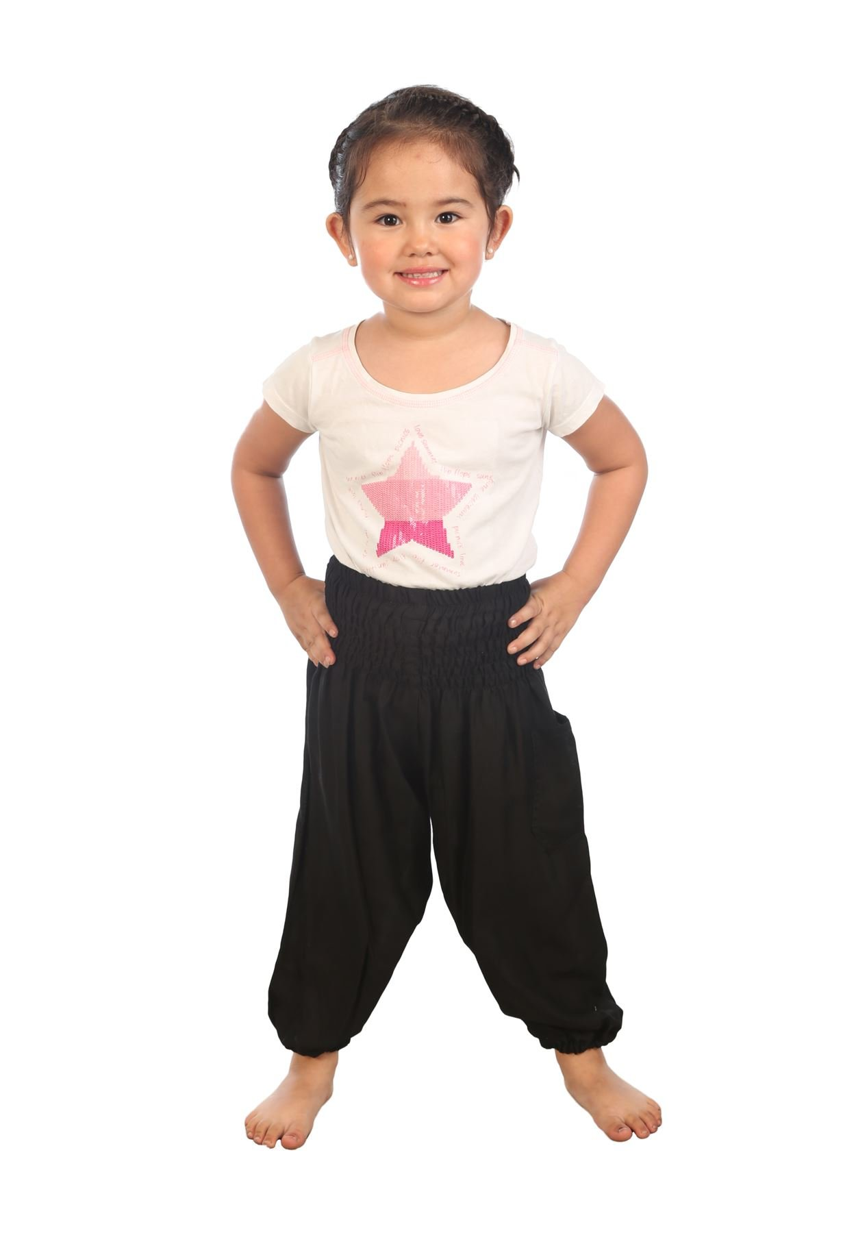 Lofbaz Kids Solid Hippy Gphsy Child Pirate Pants Thai Bohemian Black Size 10/11Y