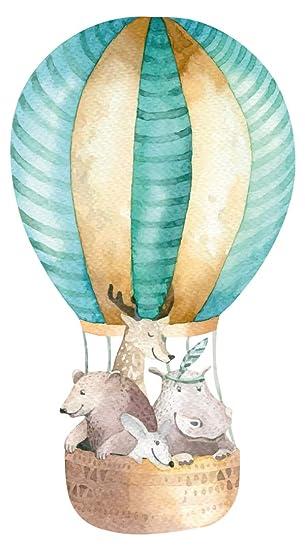Wandtattoo Kinderzimmer Aquarell Heissluftballon Reh Bar Nilpferd