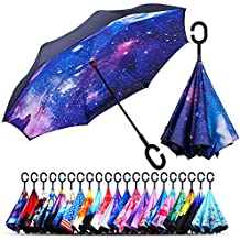 Owen Kyne Windproof Double Layer Folding Inverted Umbrella, Self Stand Upside-Down Rain Protection Car Reverse Umbrellas with C-Shaped Handle