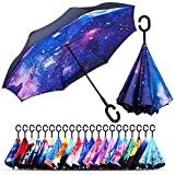 Owen Kyne Windproof Double Layer Folding Inverted Umbrella, Self Stand Upside-Down Rain Protection Car Reverse Umbrellas with C-Shaped Handle (Starry Sky 1)