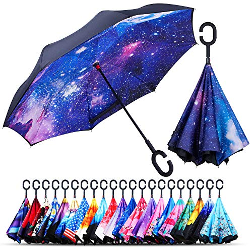 Owen Kyne Windproof Double Layer Folding Inverted Umbrella, Self Stand Upside-Down Rain Protection Car Reverse Umbrellas with C-Shaped Handle (Starry Sky -