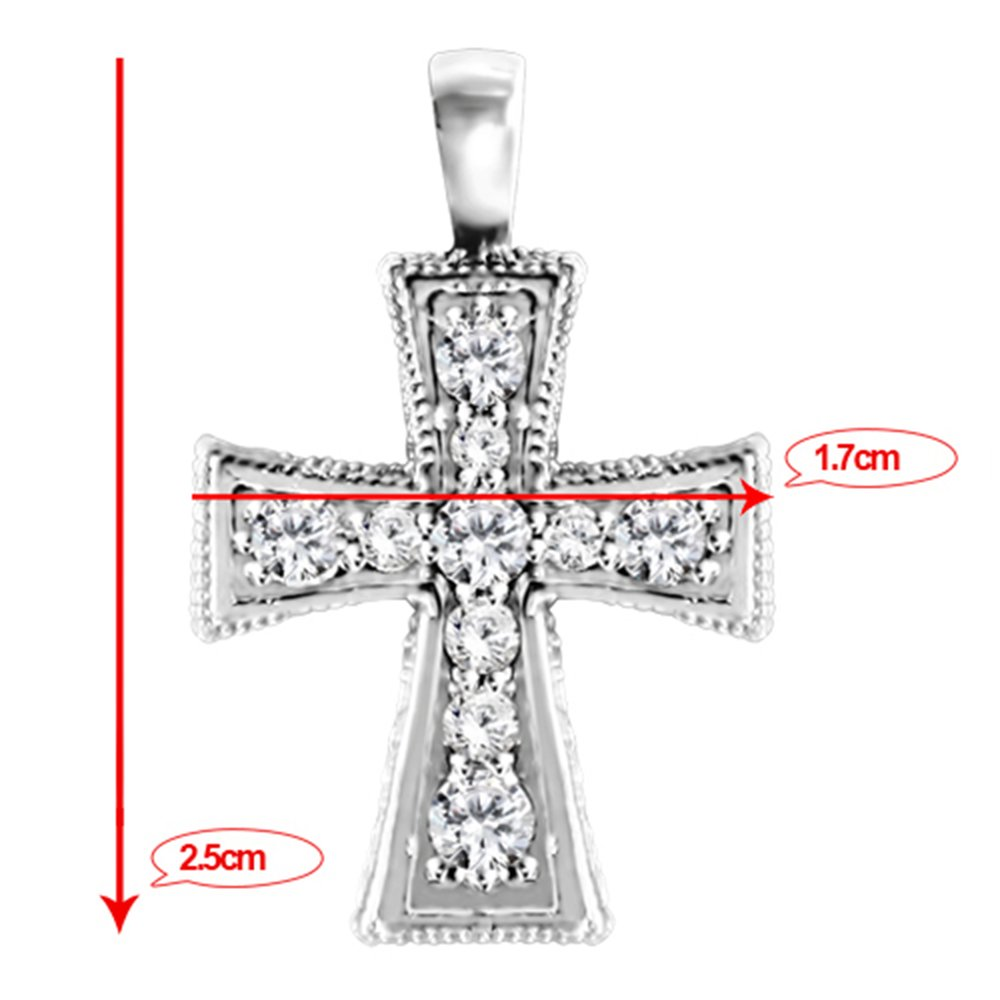 0.47 ct. twt. Silver Crusader Cross Pendant Chain Set Black CZ 0.47 ct. twt. Black CZ
