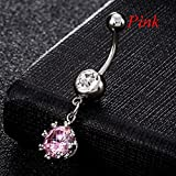 Sumanee Crystal Rhinestone Curved Navel Ring Body Jewelry Stainless Steel Dangle Belly