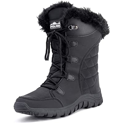 Polar Womens Quilted Lace Up Grey Outdoor Snow Rain Duck Boot | Snow Boots