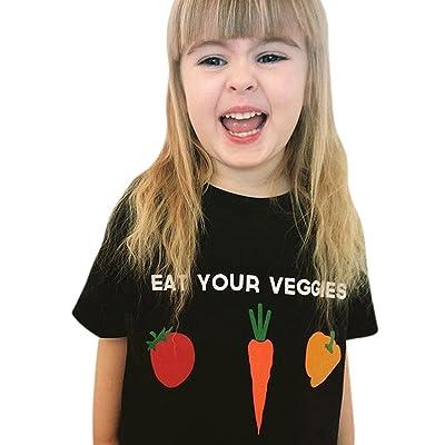 Winsummer Kids Toddler Baby Girls Eat Your Veggies Print Summer Cotton White T-Shirt Tops Outfit Little Boys