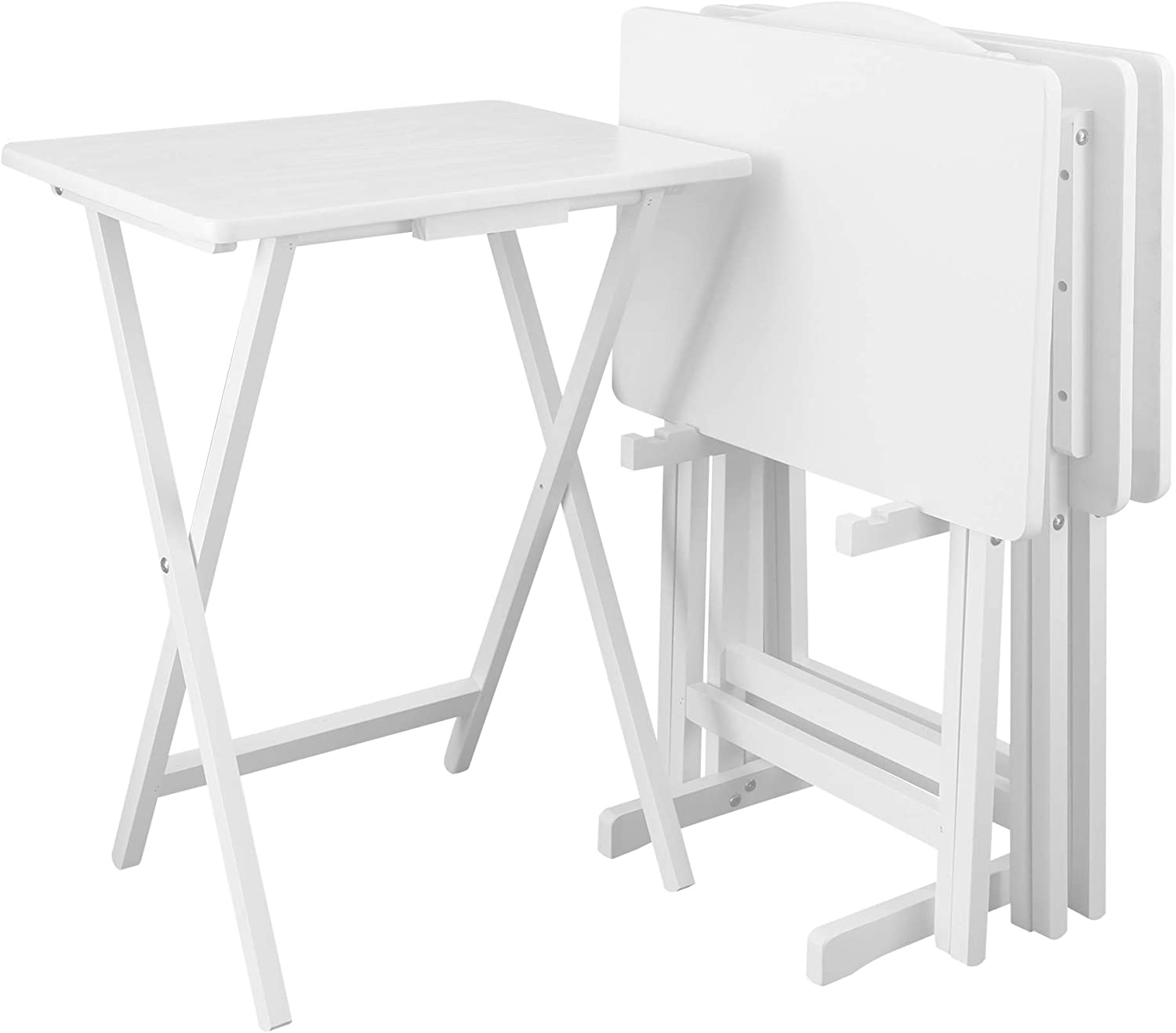 Casual Home 5pcs Tray Table Set, White (New)