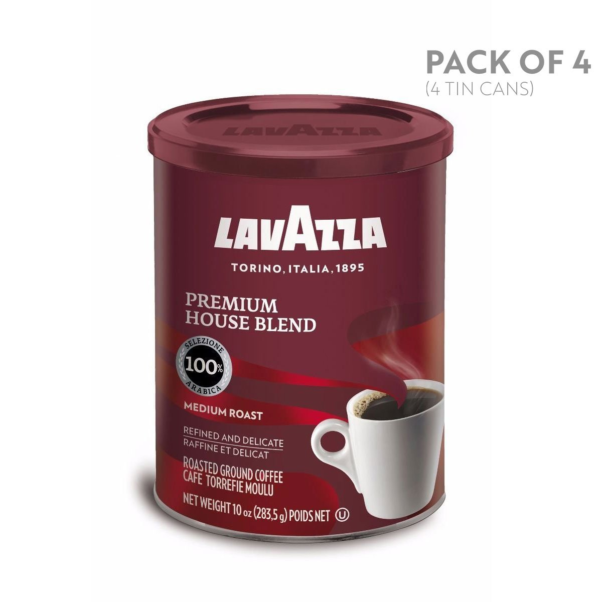 Lavazza Premium House Blend Ground Coffee, Medium Roast, 10-Ounce Cans (Pack of 4)