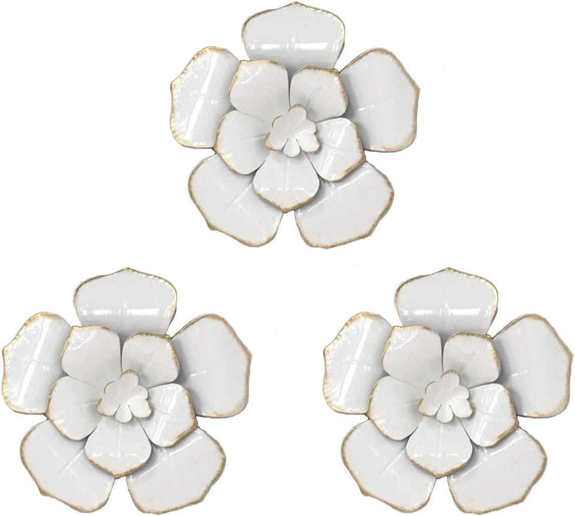 Multiple Layer Flower Metal Wall Art Decor (White)