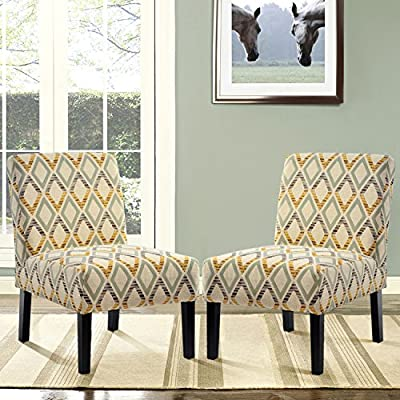 Harper&Bright Designs Upholstered Accent Chair Armless Living Room Chair Set of 2