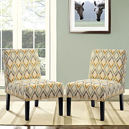 Harper&Bright Designs LE Upholstered Accent Armless Living Room Chair Set of 2 (Beige/Diamond)