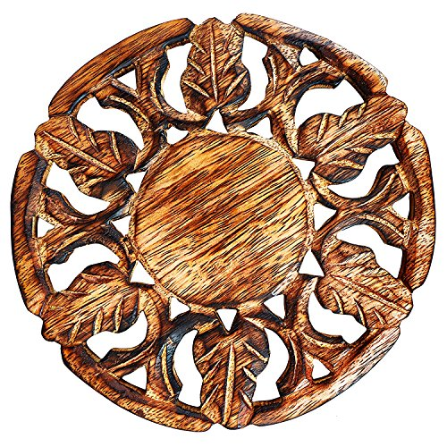 Handmade Wooden Trivet For Hot Dishes Plates & Pots Holder Hot Pad For Kitchen & Dining Table Decor Cookware Heat Resistant Rustic Decorative Carvings 6 Inches Tabletop Home & Dining Table Essentials ()