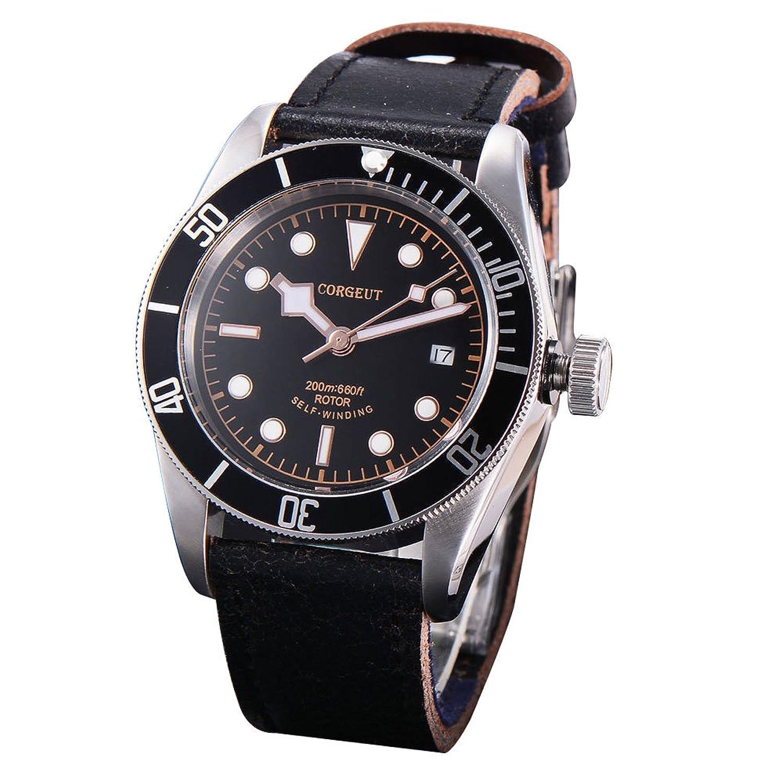 41mm Corgeut Saphirglas Metall LÜnette schwarz Leuchtend Mechanische Automatik Uhr