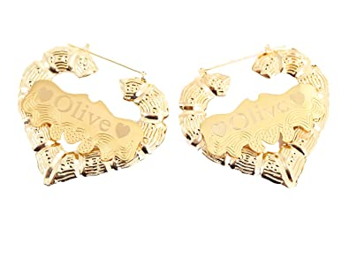 Amazon Com Tina Co Bamboo Gold Plate Earring Personalized Custom