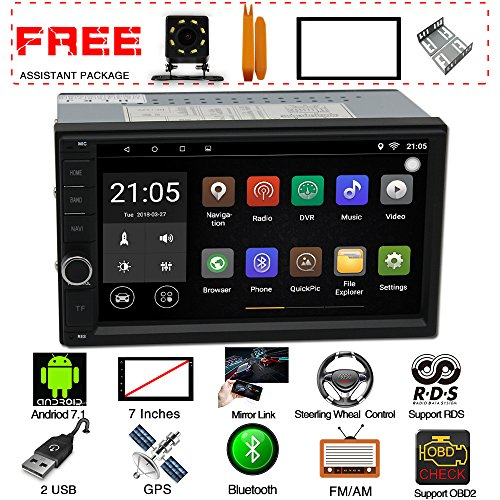 Upgraded Android 7.1 QuadCore CPU 7 Inch Touch Screen Double Din car Stereo In Dash GPS Navigation Headunit WiFi Bluetooth Car Radio Audio vehicle System With Free Rear Camera And Car Tuning Tools