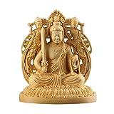 Suicazon [御金品] 高品質 両面彫刻 ツゲの木彫り 仏像 不動明王 開運 / 厄除け