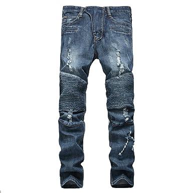 fc39c6cc DAVID.ANN Men's Slim Straight Biker Jeans Hiphop Pants at Amazon ...