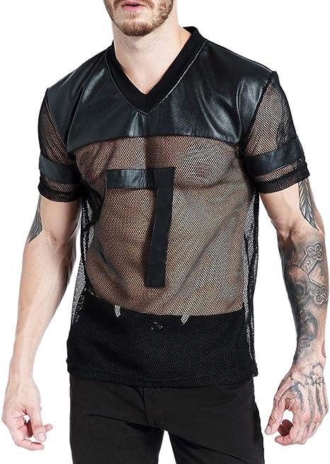 Biddtle Hombre Camiseta De Cuero De Malla Transparente Chaleco con Manga Corta Ropa Interior De Apretada Muscular Ajuste para Hombres De Negro,S: Amazon.es: Deportes y aire libre