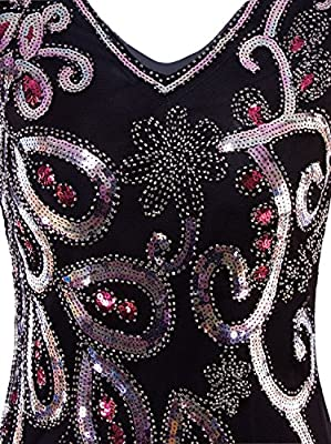 Vijiv Women's Vintage 1920s Style Peacock Sequin Roaring 20s Gatsby Party Flapper Dress