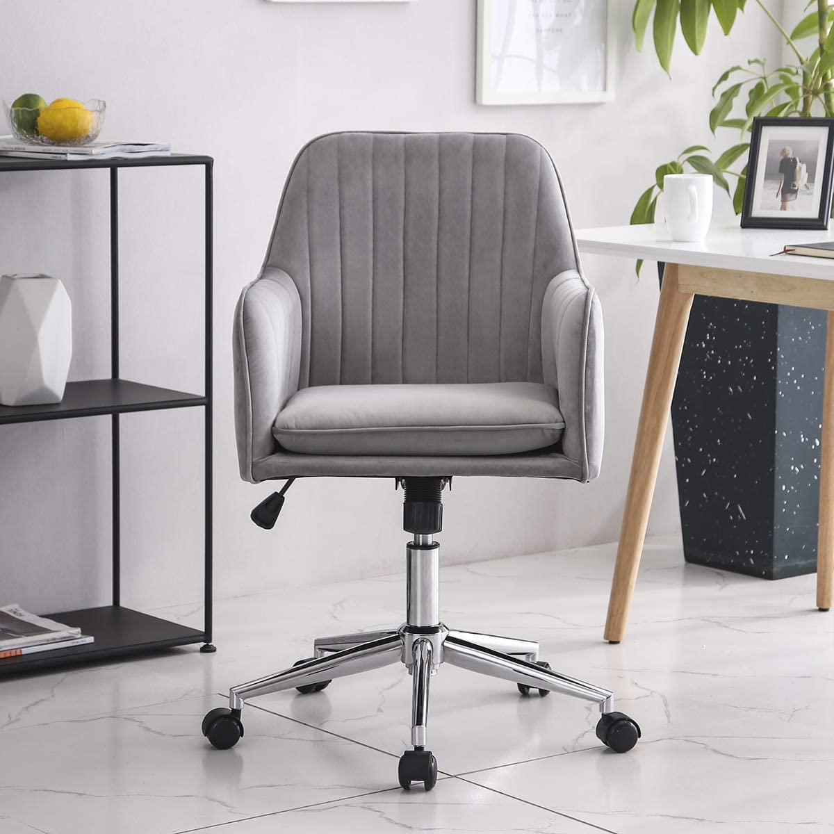Vanimeu Grey Desk Chair Ergonomic Velvet Office Chair With Arms For Home 360 Swivel Computer Chair Padded Cushion Seat Tilt Function Adjustable Height Grey Amazon Co Uk Kitchen Home