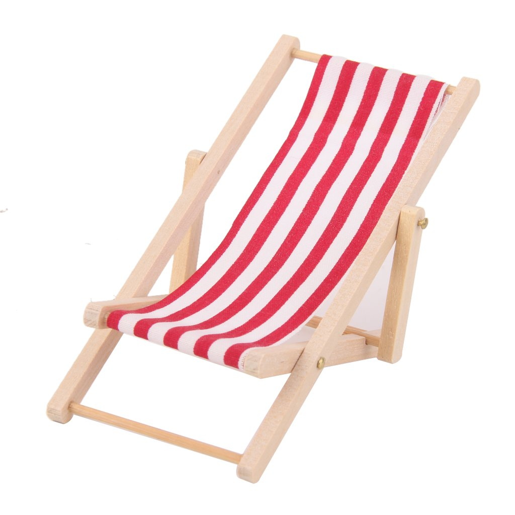 Amazon 1 12 Dollhouse Miniature Foldable Blue White Stripe Beach Chair Chaise Longue Furniture Deck Doll Accessories Toys Games