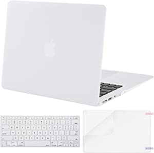 MOSISO Plastic Hard Shell Case & Keyboard Cover & Screen Protector Only Compatible with MacBook Air 13 inch (Models: A1369 & A1466, Older Version 2010-2017 Release), White