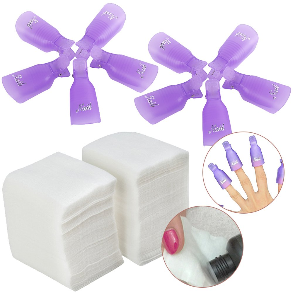 Set / Kit / Lot of 200pcs Manicure Pedicure Makeup / Make Up Soft Lint Free Cotton Pads and 10pcs Acrylic Nails / Tips Soak Off Clips On Caps / Soakers Tools / UV Gel Polish Removers Soaking Wraps VAGA