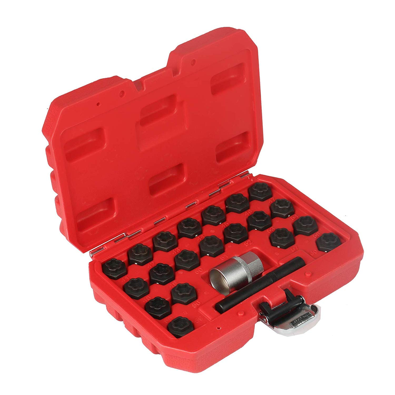 Mrcartool 22 Piece Wheel Locking Key Set for Audi Anti-Theft Wheel Rim Lug Nut Master Removal for BMW by Mrcartool