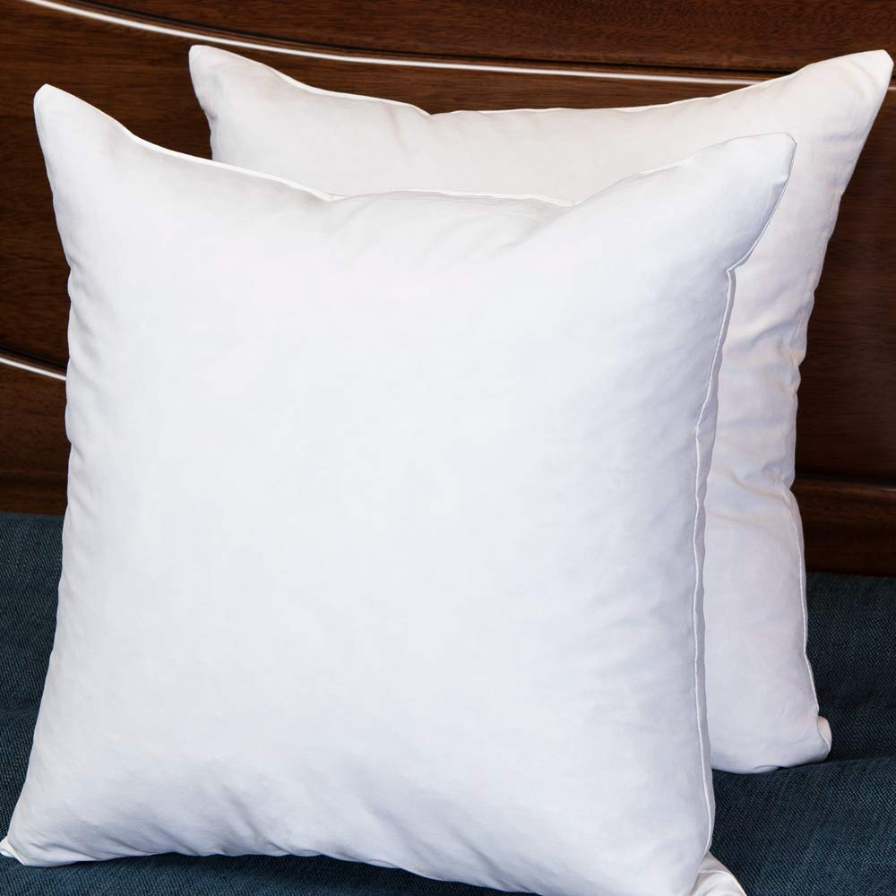 Set of 2 18X18 Square Decorative Throw Pillows Down & Feather Throw Pillow Insert, 100% Cotton, White