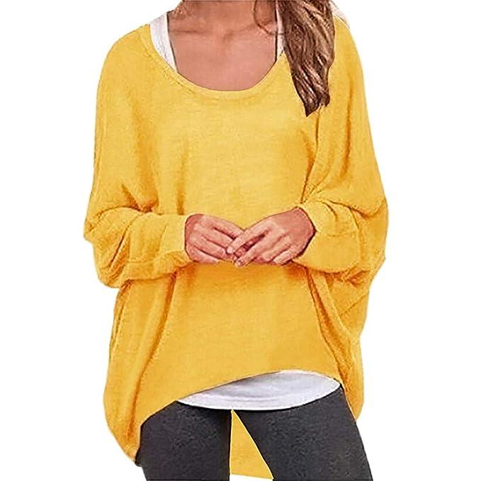Tefamore Camisas para Mujer Tallas Grandes, Moda Camiseta Mujer Blusas Sólido Color Manga