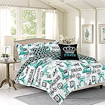 Genial Bedding Queen 5 Piece Girls Comforter Bed Set, Paris Eiffel Tower London,  Teal Blue