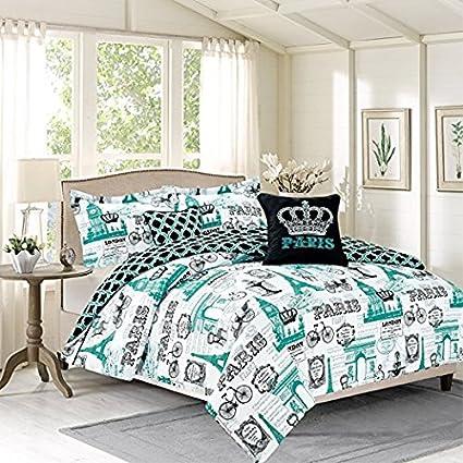 Bedding Queen 5 Piece Girls Comforter Bed Set, Paris Eiffel Tower London,  Teal Blue