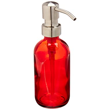 Industrial Rewind Red Soap Dispenser with Stainless Steel Pump - 8oz Red Glass Soap Bottle or Lotion Bottle (Red/Stainless)